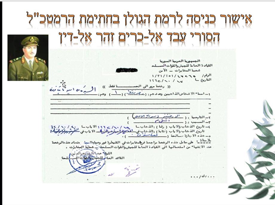 אישור כניסה לרמת הגולן בחתימת הרמטכ״ל הסורי עבד אל-כרים זהר אלדין