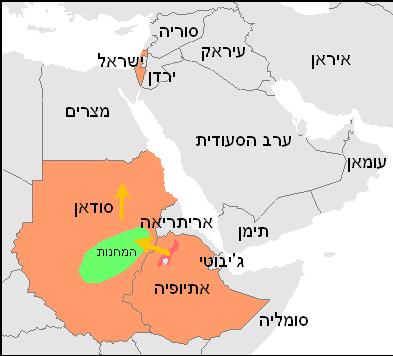 מפת המחנות באתיופיה