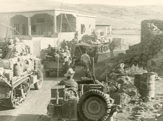 חטיבה 45 בהתארגנות לתקיפה בדרכה מצומת קבטיה לג´יפליק, יוני 67- מלחמת ששת הימים.